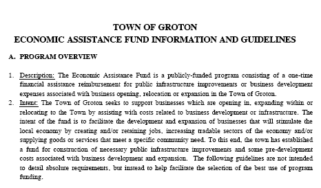 Town of Groton's Economic Assistance Fund